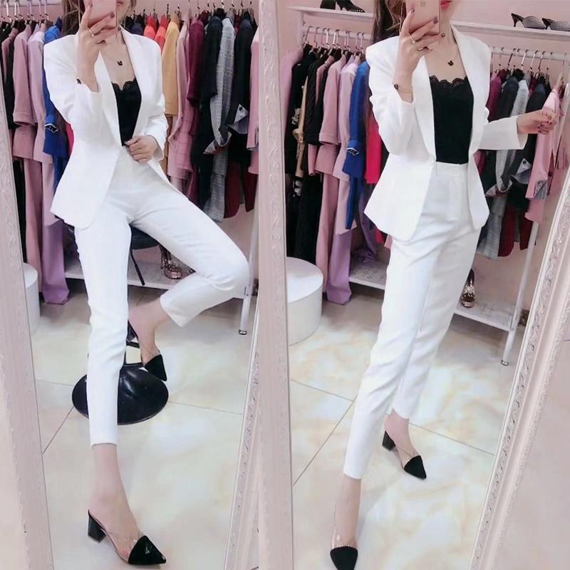 小香风西装白色西服套装女修身显瘦气质时尚收腰外套西裤两件套潮