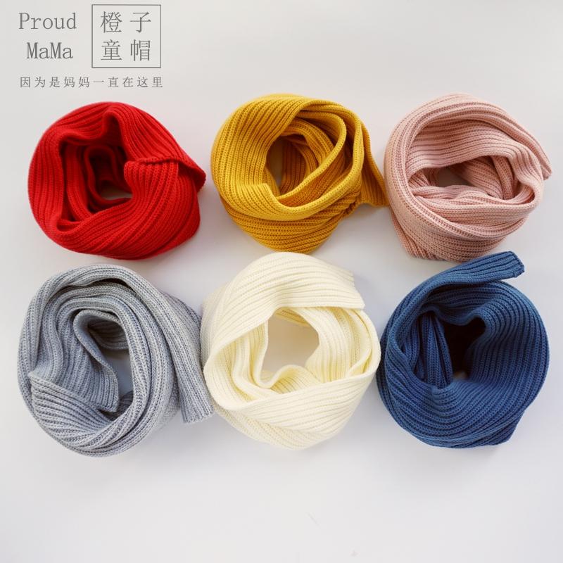 春秋冬韩男女宝宝儿童婴儿百搭纯色纯棉1-2-3-4-5岁针织围脖围巾