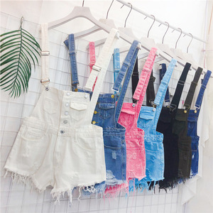 Denim bib female students 2017 spring and summer clothing new loose Korean version was thin and burr edging fringed shorts tide