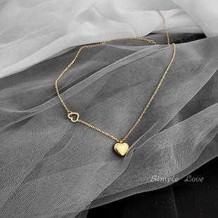 不掉色 日韩版简约短款锁骨链18k包金心形吊坠钛钢镀金项链女礼物图片