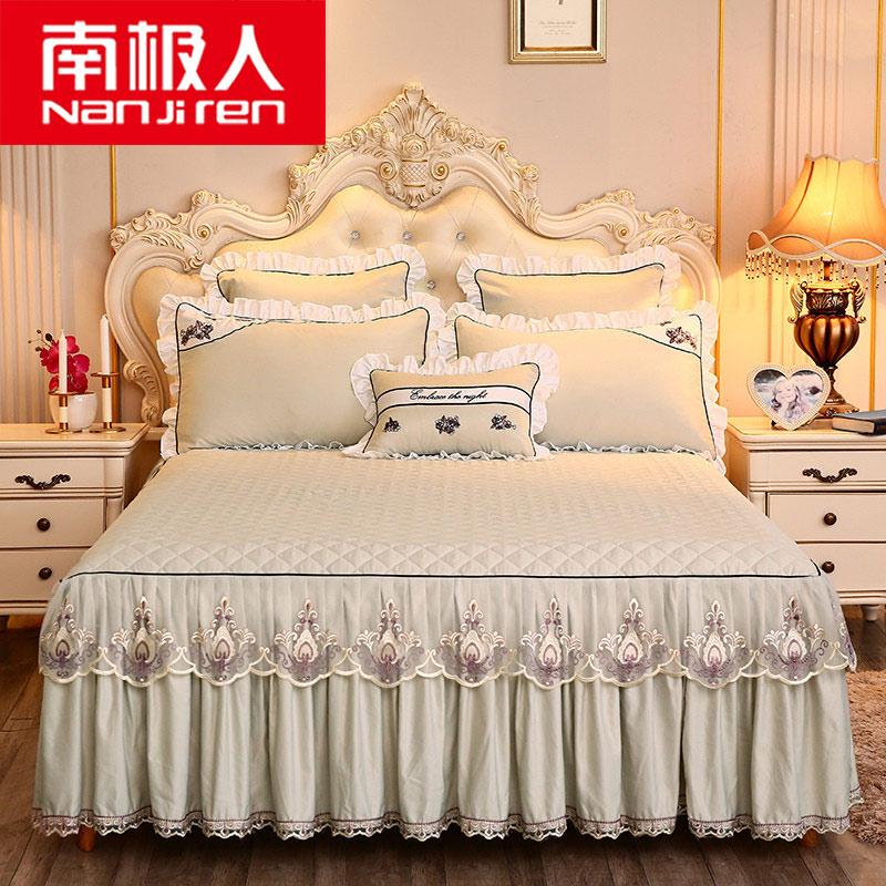 南极人天丝莫代尔绣花床裙席梦思床罩床裙式床套单件防滑床垫床笠