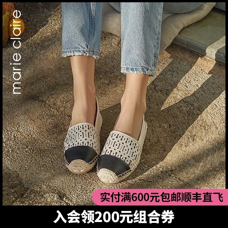 点击查看商品:Marie Claire/MC2020新款女鞋草编渔夫鞋平底单鞋女浅口鞋子