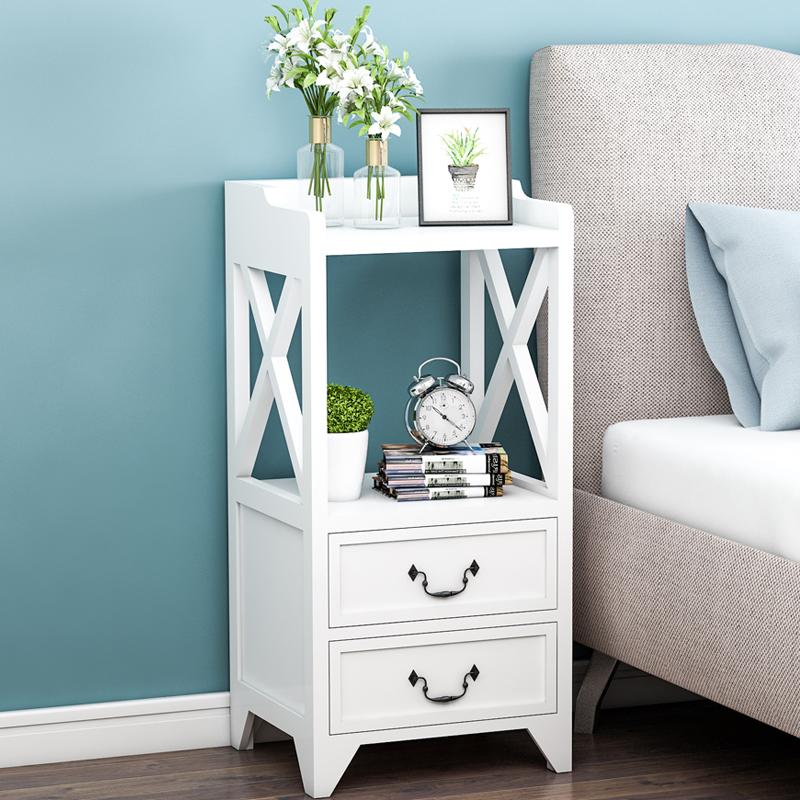 简欧整装床头柜实木加宽简约小柜子创意卧室窄柜欧式25cm床柜迷你