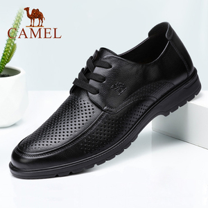 Camel men's shoes summer men's leather breathable business dress shoes summer casual shoes hollow holes sandals