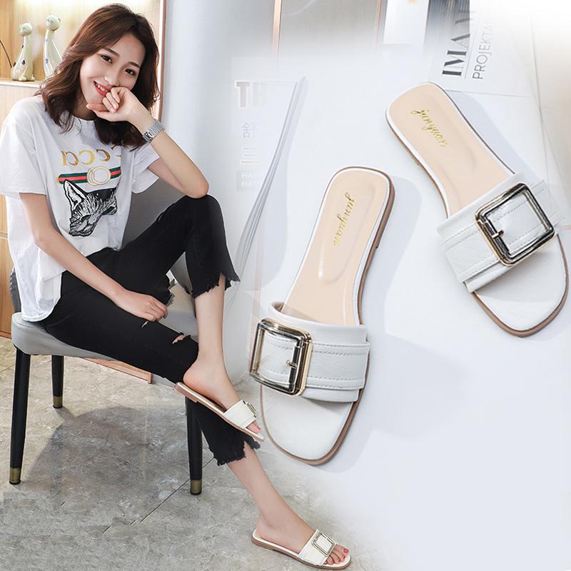 网红拖鞋女夏时尚外穿2019新款韩版学生平底一字型凉拖室外小码33