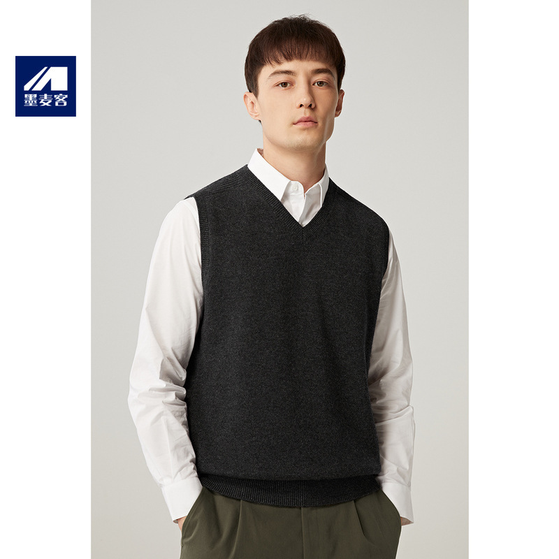 墨麦客男装2020春季新款背心马夹洋气纯羊毛外套男外穿韩版休闲潮