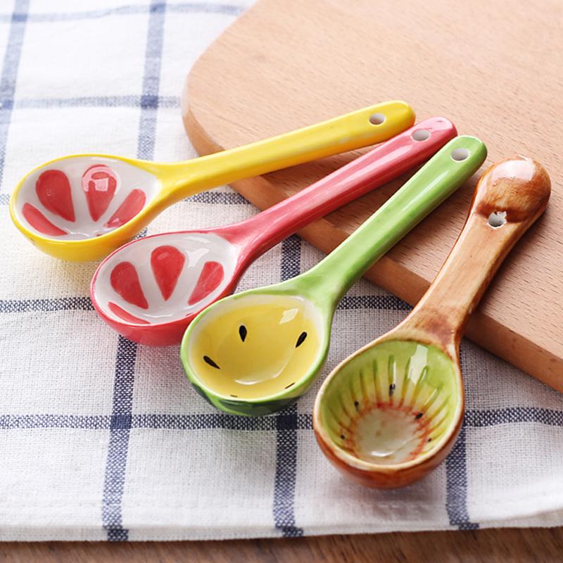 创意陶瓷水果勺子家用可爱儿童餐具碗勺卡通勺子手绘釉下彩小汤勺