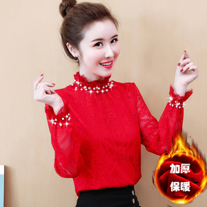 2020 early spring new plus velvet thick lace bottoming shirt women's small shirt long-sleeved beaded collar collar solid color women