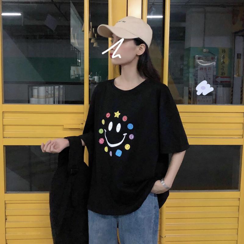 #556实拍 夏季新款女装时尚彩色笑脸印花打底衫宽松套头短袖T恤女 -