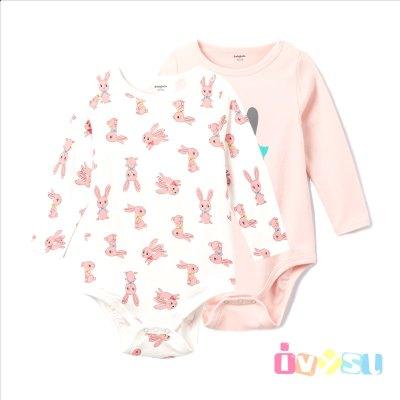 巴拉巴拉童装秋装2018新款女婴幼童宝宝圆领印花外出三角衣两件装 拍下70元包邮
