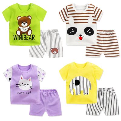 夏季宝宝短袖套装纯棉婴儿衣服儿童夏装男童短裤女童T恤0-1-3岁