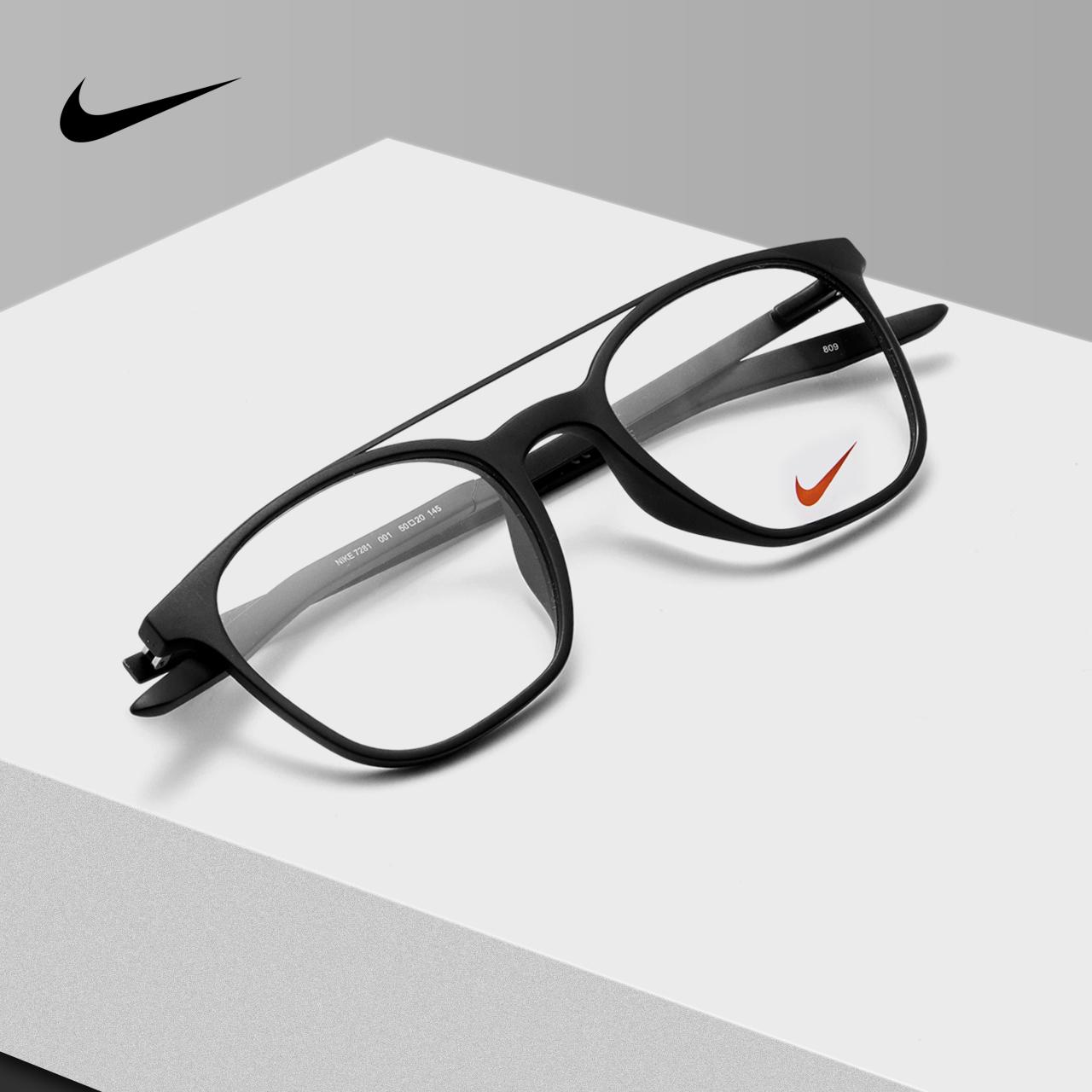 NIKE耐克 2019新款复古方框飞行员眼镜架男女款可配近视度数7281