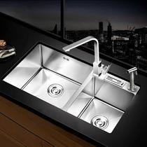 不鏽鋼洗碗池雙水槽廚房洗菜盆雙槽納米加厚手工盆套餐304九牧王