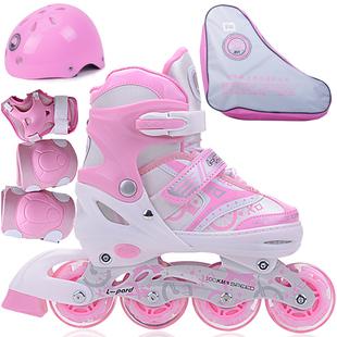 儿童轮滑鞋粉闪光灯男女小孩L冰鞋可调留溜冰鞋可伸缩焊汉旱冰鞋图片