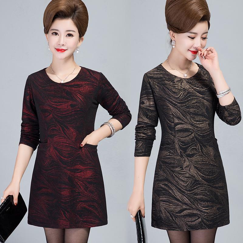 中老年女装春装连衣裙中长款长袖裙子40-50岁中年妈妈装打底衫女