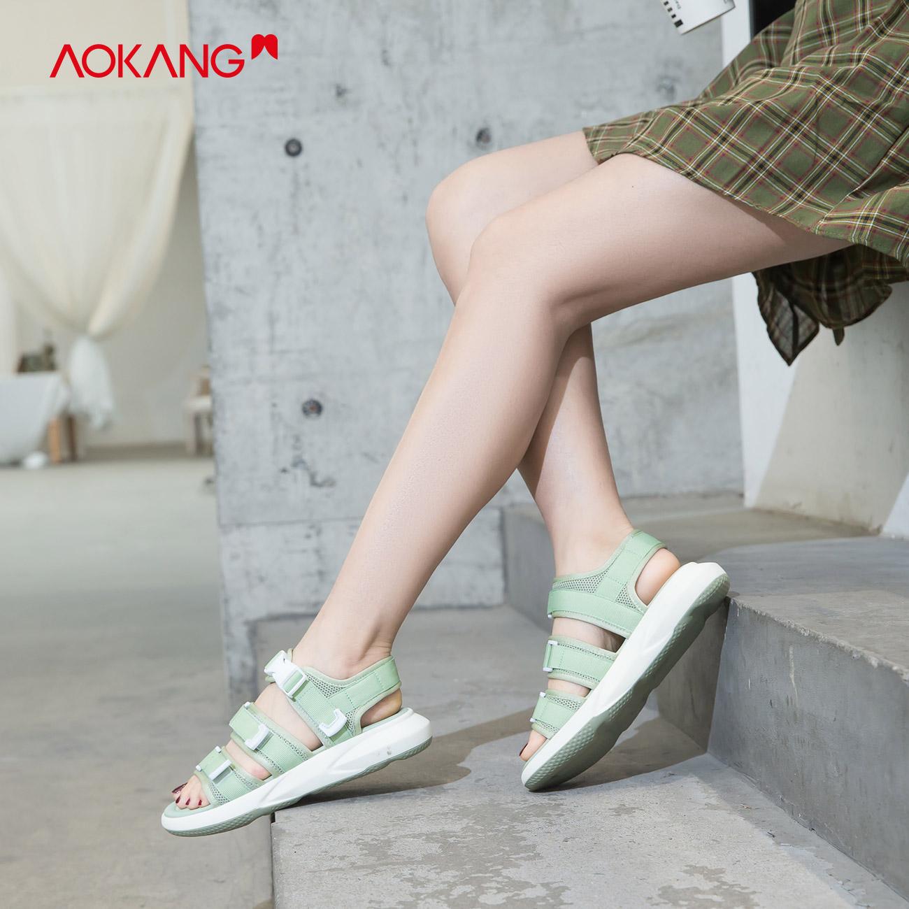 奥康女鞋 2020夏季新款时尚厚底休闲运动凉鞋增高显瘦ins潮酷学生