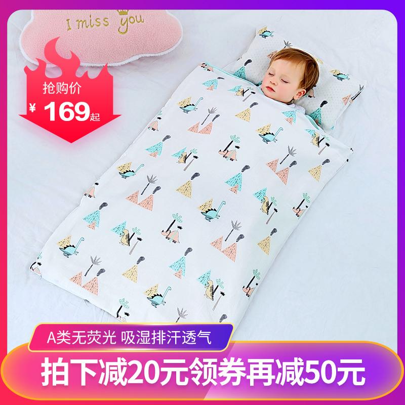 婴儿睡袋春秋薄款纱布睡袋夏季幼儿童中大童四季通用款防踢被神器