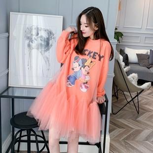 泰国潮牌米奇卡通印花拼接蓬蓬网纱罩纱宽松卫衣连衣裙假两件女装图片