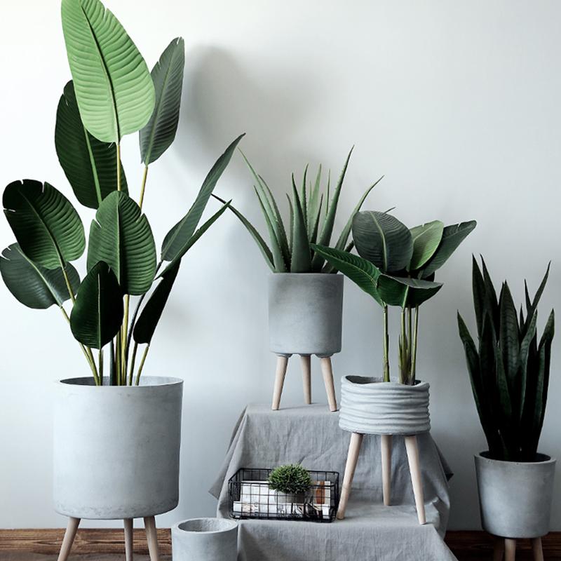 七茉 水泥花盆落地室内大号绿植物盆创意北欧简约客厅阳台装饰