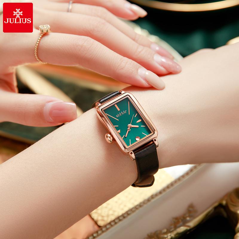 julius聚利时手表女夏季简约气质复古方形表盘小众防水皮带小绿表