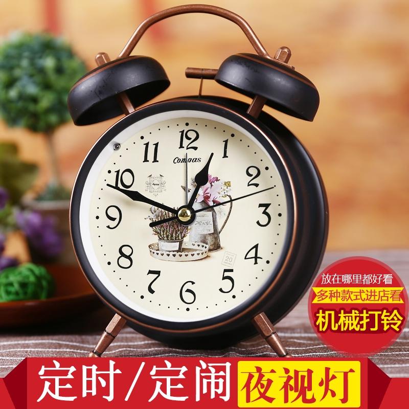 康巴丝闹钟创意学生床头钟表静音可爱儿童时钟简约个性懒人小座钟