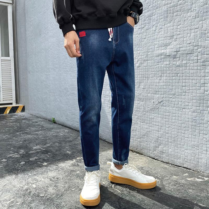 2020男秋季牛仔裤男秋冬新款小直筒修身休闲小脚牛仔裤男FaT2012 -