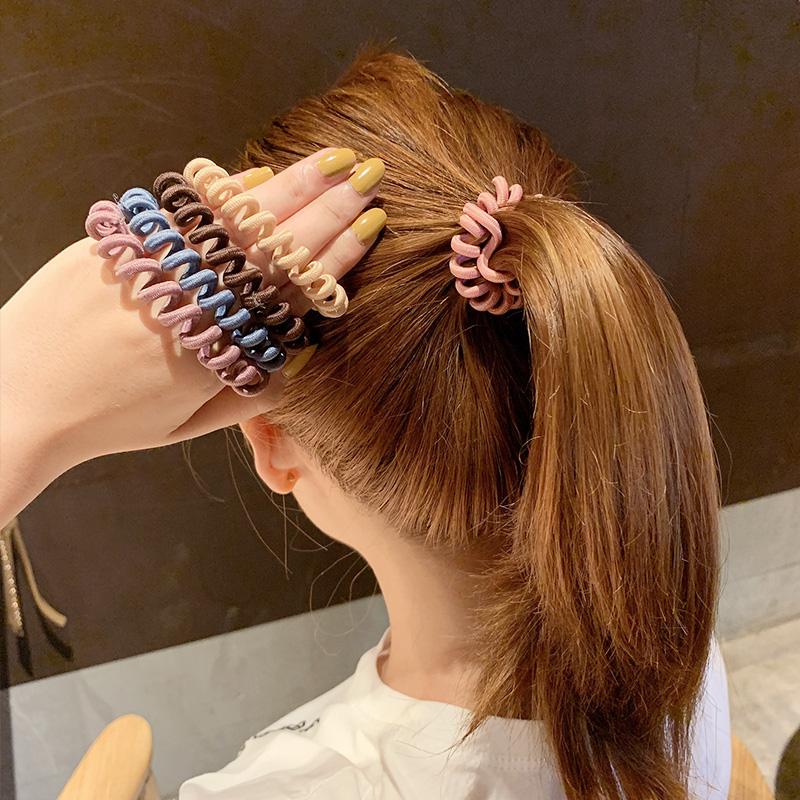 韩国电话线发圈扎头发可爱无痕头绳网红韩版发绳皮套女橡皮筋简约图片