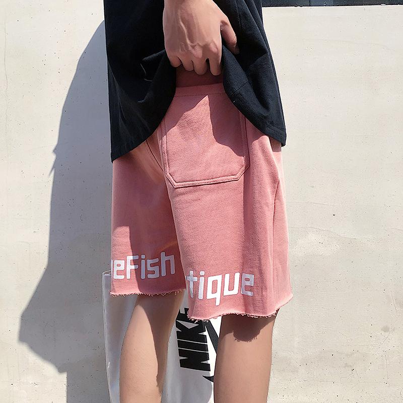 夏季薄款粉色运动短裤男宽松ins潮牌五分裤潮裤子休闲百搭篮球裤