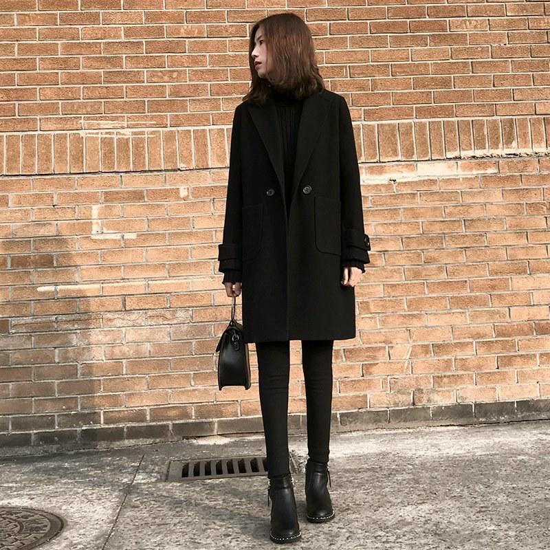 反季黑色赫本风毛呢大衣女中长款小个子韩版秋冬宽松加厚呢子外套