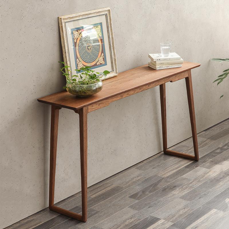 实木玄关架条案案台现代简约黑胡桃樱桃木条几供桌条桌靠墙玄关桌