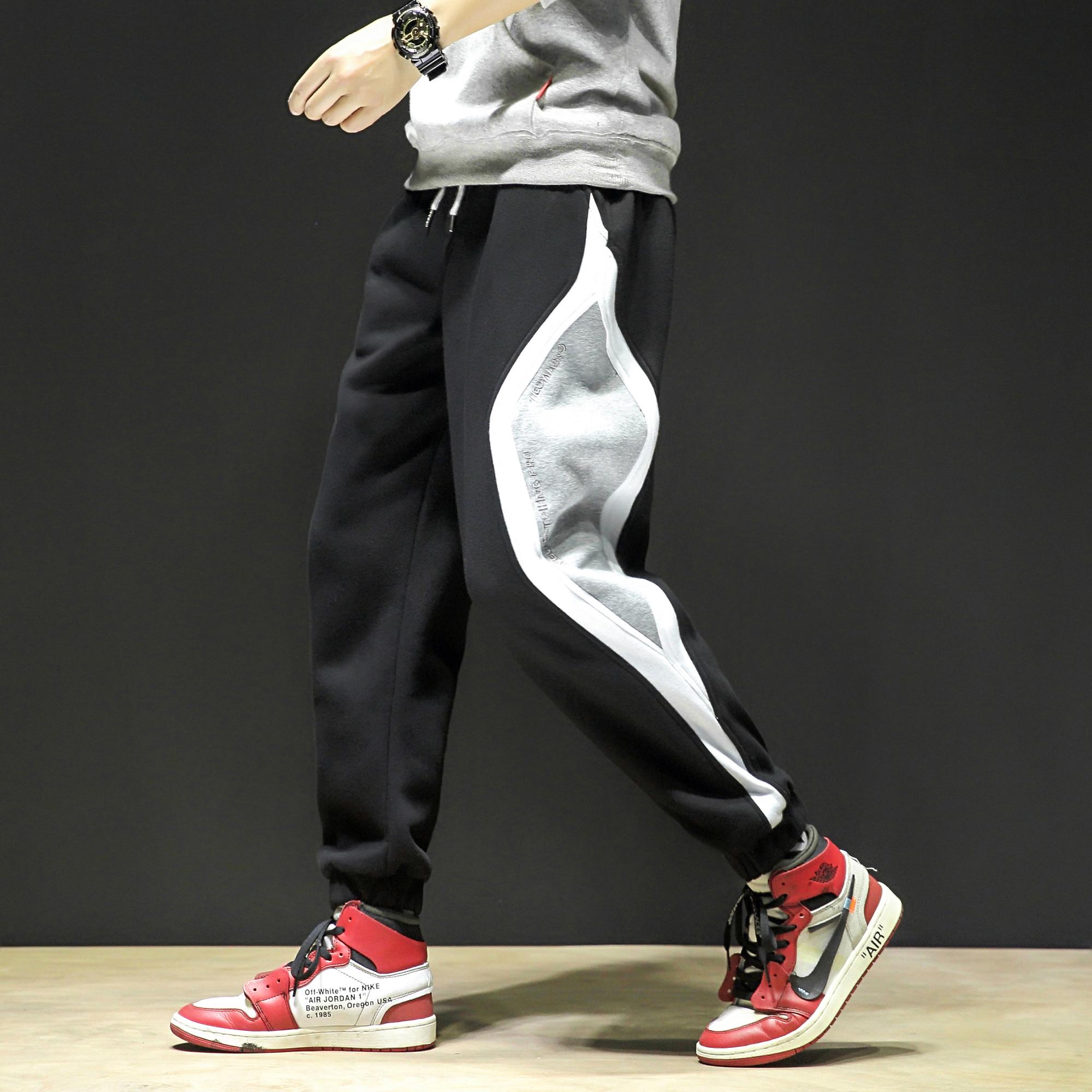 K680-P55  秋冬加绒运动裤男潮宽松束脚直筒休闲针织拼接卫裤