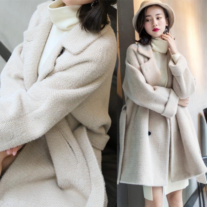 P21毛呢外套女中长款秋季女装新款冬季宽松韩版风衣呢子大衣厚