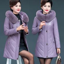 冬季海宁皮衣女中长新式加绒中老年真at14羽绒服c1草厚外套