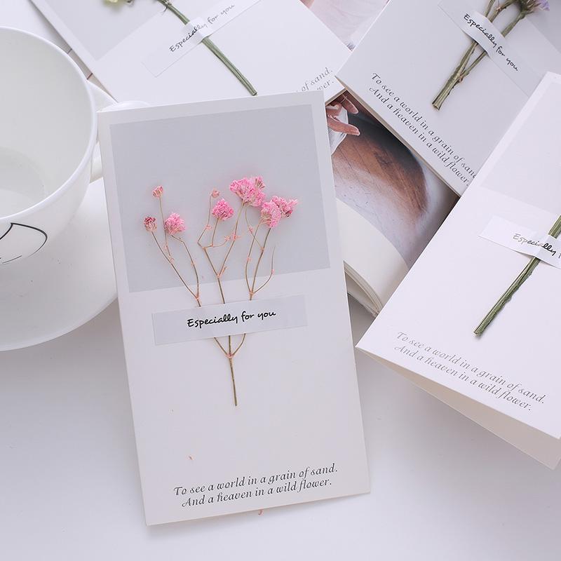 韩国创意手工干花生日贺卡邀请函感恩节祝福卡圣诞感谢留言小卡片