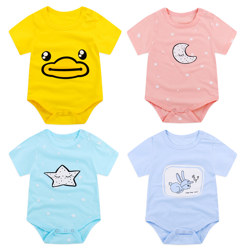 夏季婴儿衣服新生儿连体衣三角哈衣纯棉薄男女童宝宝包屁爬服短袖