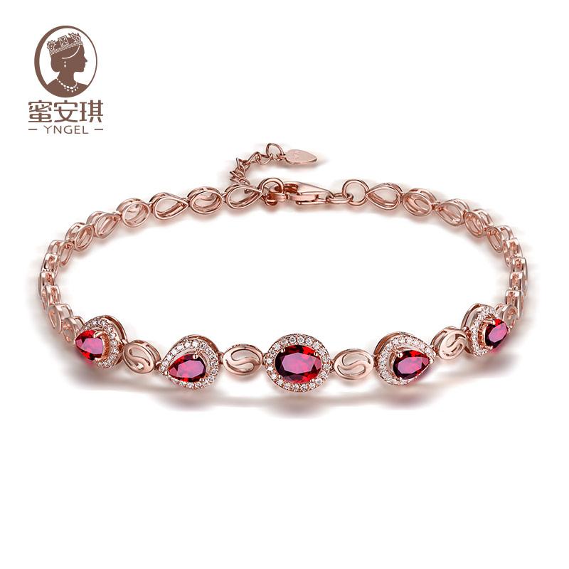 蜜安琪 天然鸽血红红宝石手链女 18K玫瑰金镶嵌钻石彩宝珠宝定制