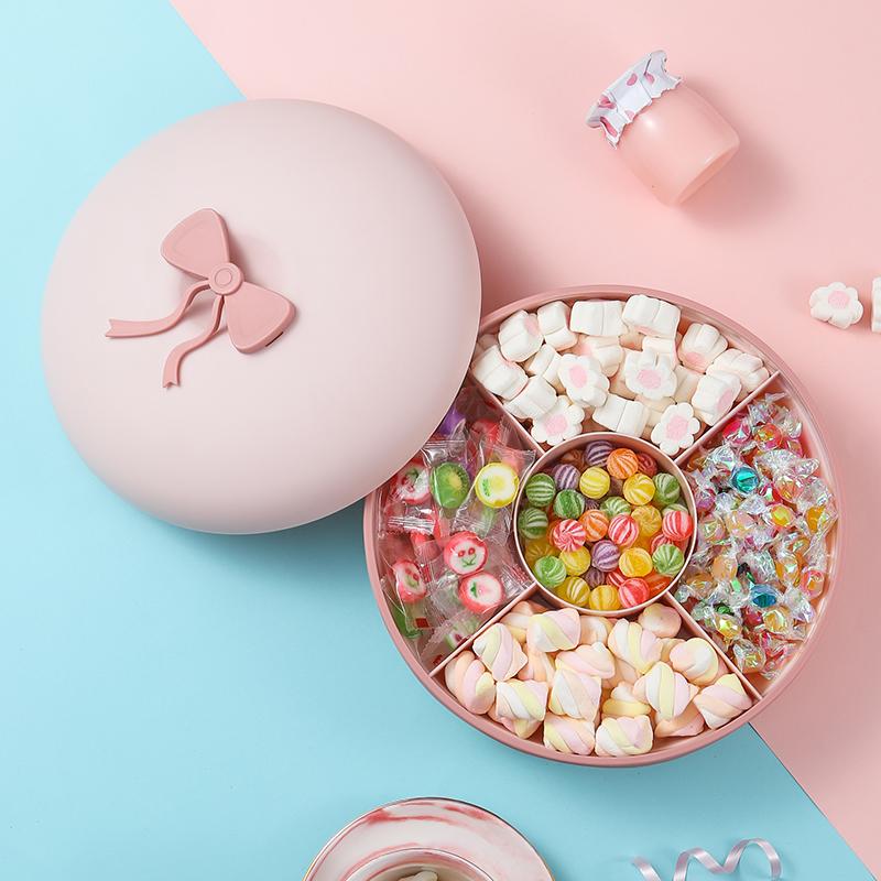 瓜子盘干果盘分格带盖糖果盒零食盘大容量水果盘家用创意现代客厅