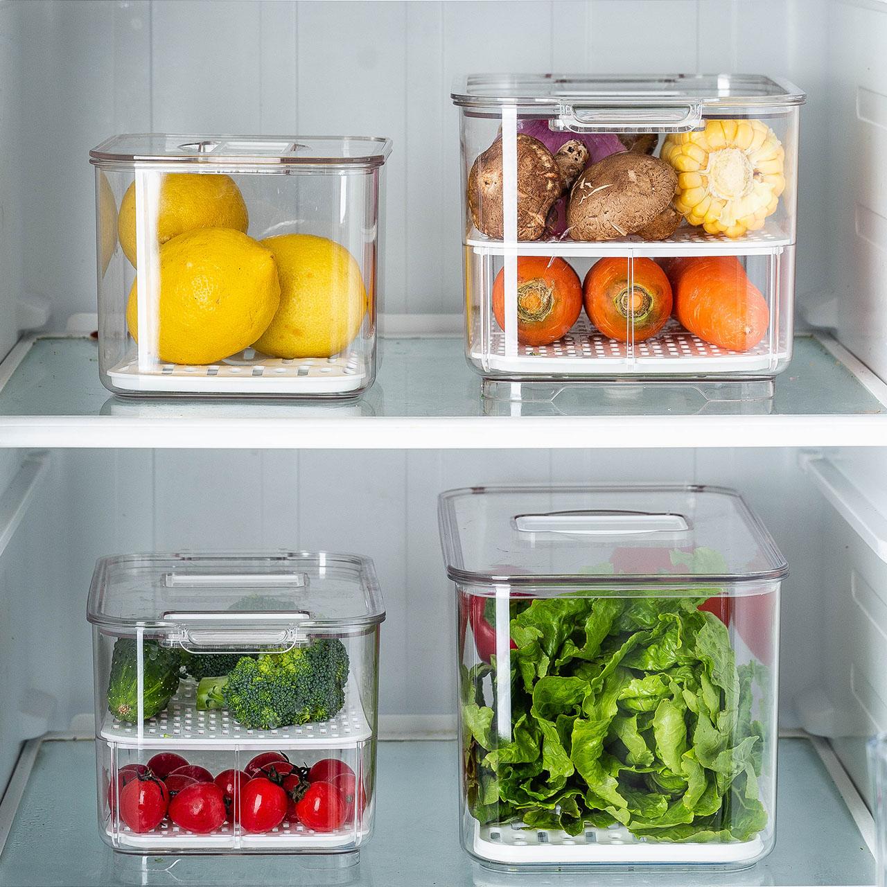 摩登主妇冰箱食品收纳盒透明分隔饺子保鲜盒水果蔬菜带盖盒子多层