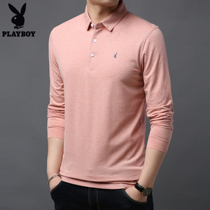 Playboy long-sleeved t-shirt middle-aged and young men's business casual lapel men's autumn solid color cotton POLO shirt