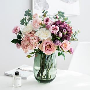 南十字星 北欧花瓶客厅仿真花束玫瑰样板间花艺套装装饰摆件 繁锦