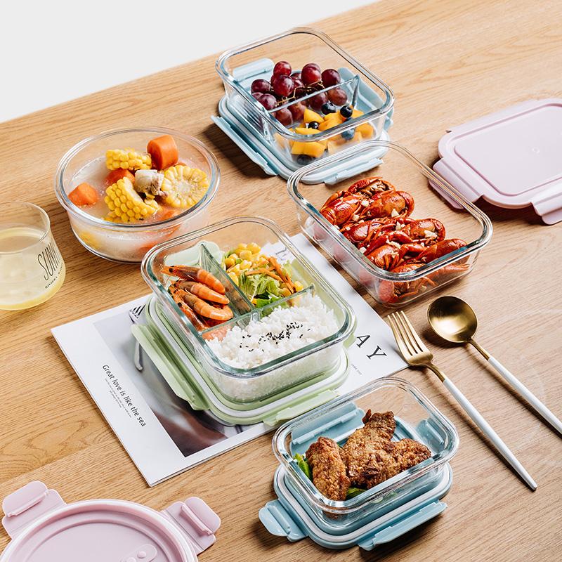 加热饭盒分隔型上班族微波炉可用保鲜盒冰箱专用玻璃碗学生便当盒
