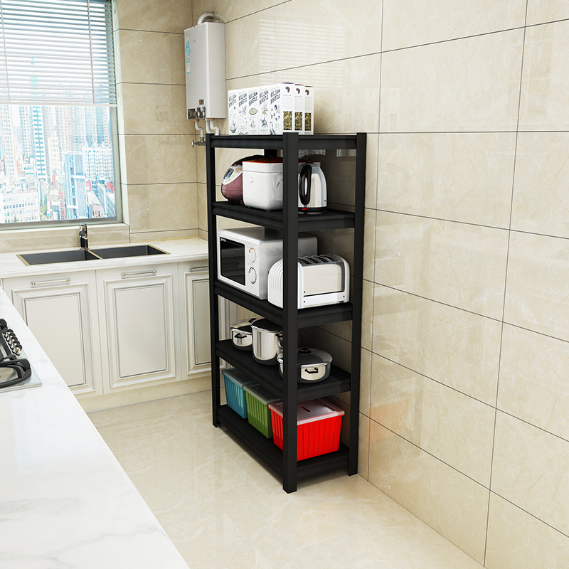 厨房置物架落地式多层可调节高度家用五层货架小电器储物收纳柜子