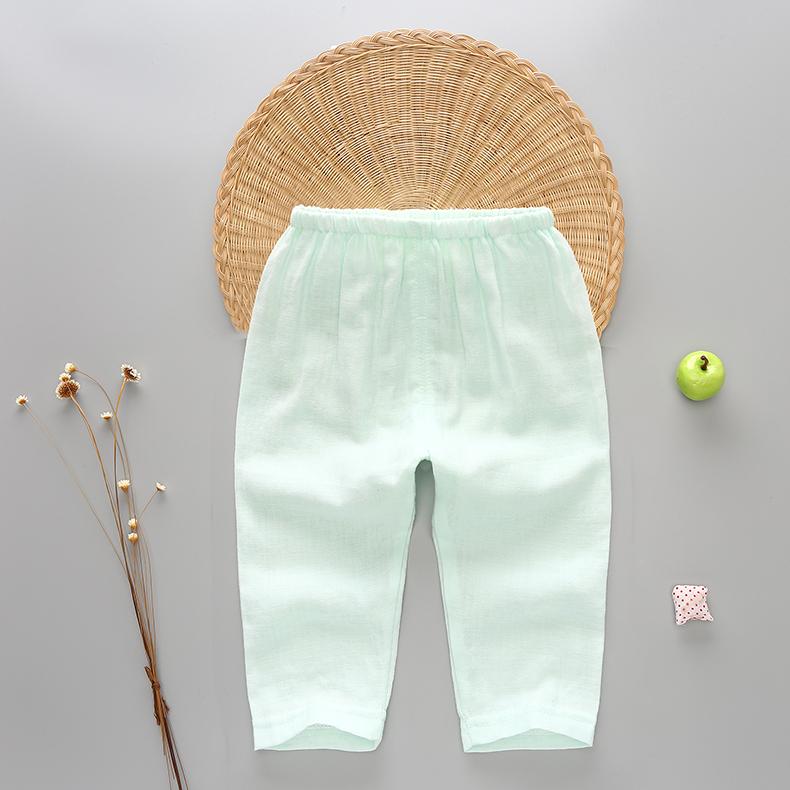 婴儿春夏季纯棉纱布长裤睡裤男女宝宝纱布裤子儿童纱布可开档裤子