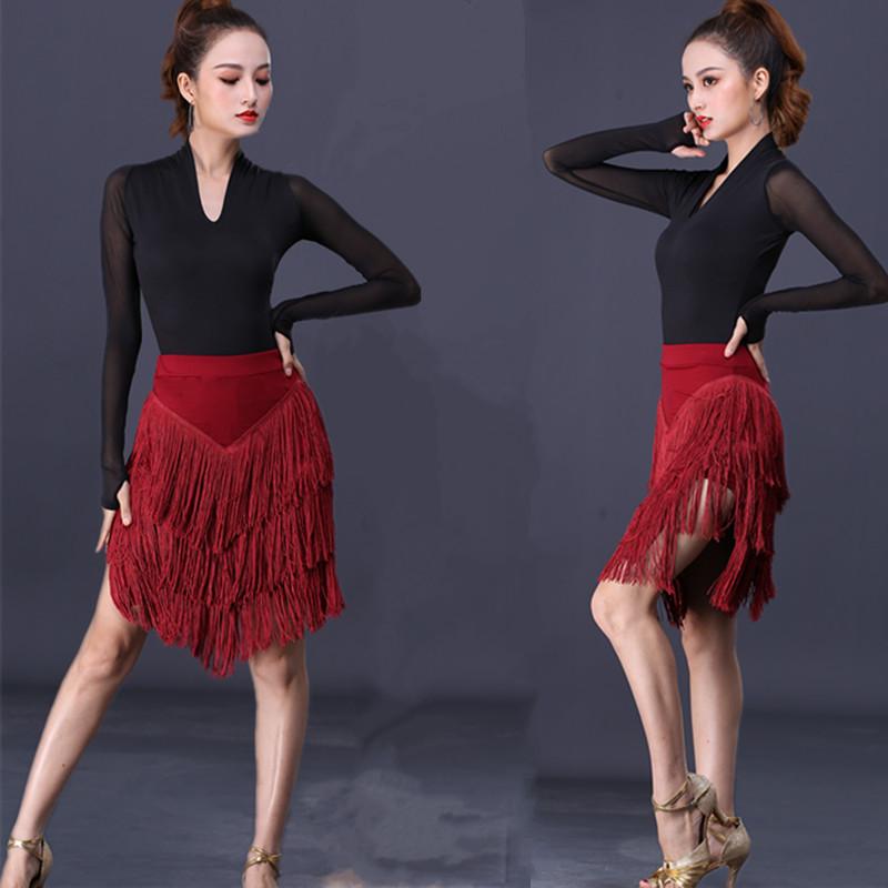 拉丁舞裙新款练功服装女成年人半身裙流苏裙下装比赛舞蹈演出服装