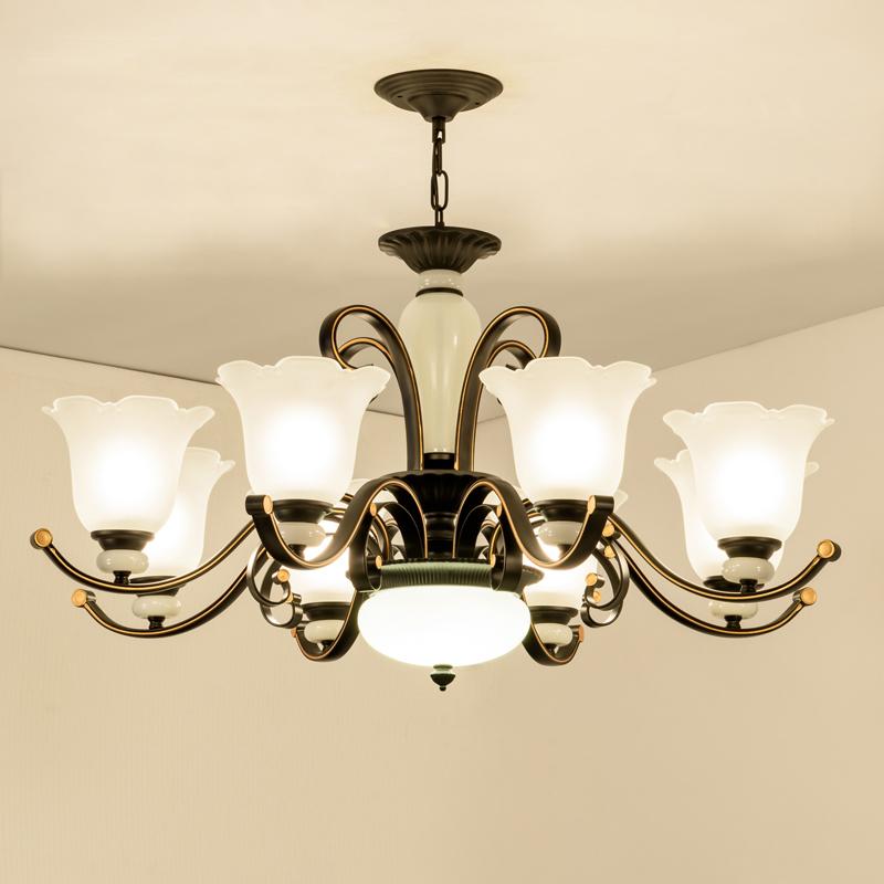 简约客厅吊灯美式乡村吊灯铁艺大气温馨卧室吊灯 餐厅灯简欧吊灯