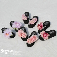 16 years new beach shoes Korean version of the hand-dimensional large rose flower towel clip feet thick word slippers female