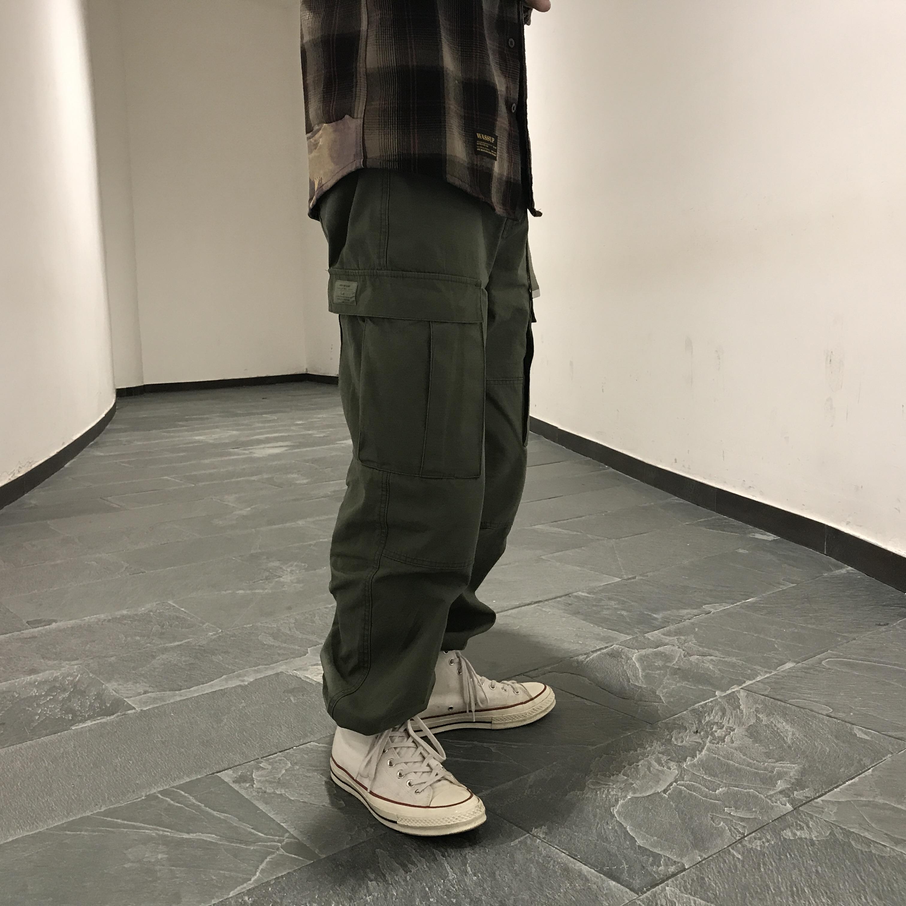 WASSUP 17aw竹节四代工装裤水洗工装休闲长裤 宽松直筒多口袋军裤