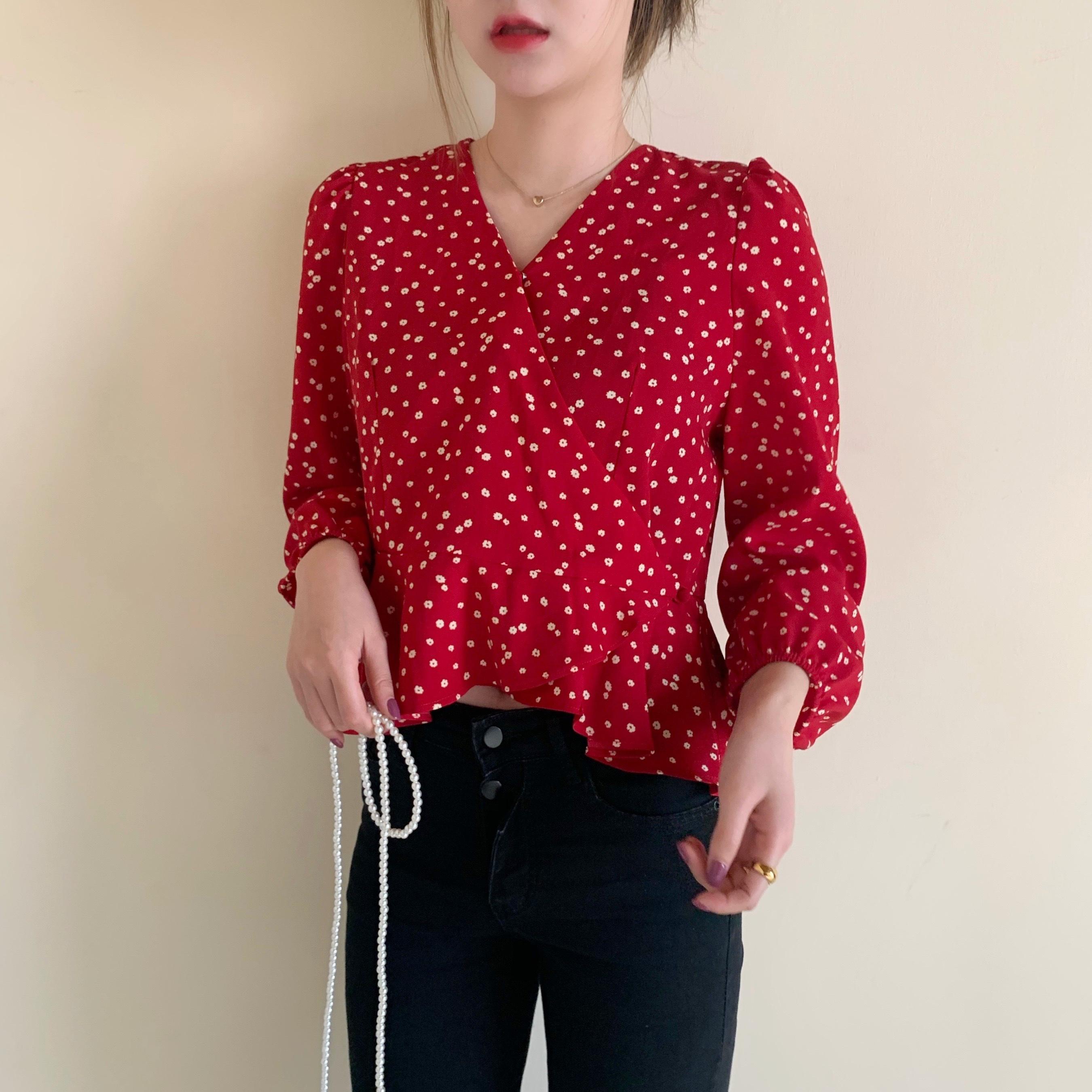 实拍红色碎花雪纺衫2020春新款荷叶边衬衫女设计感小众衬衣-Lucky-