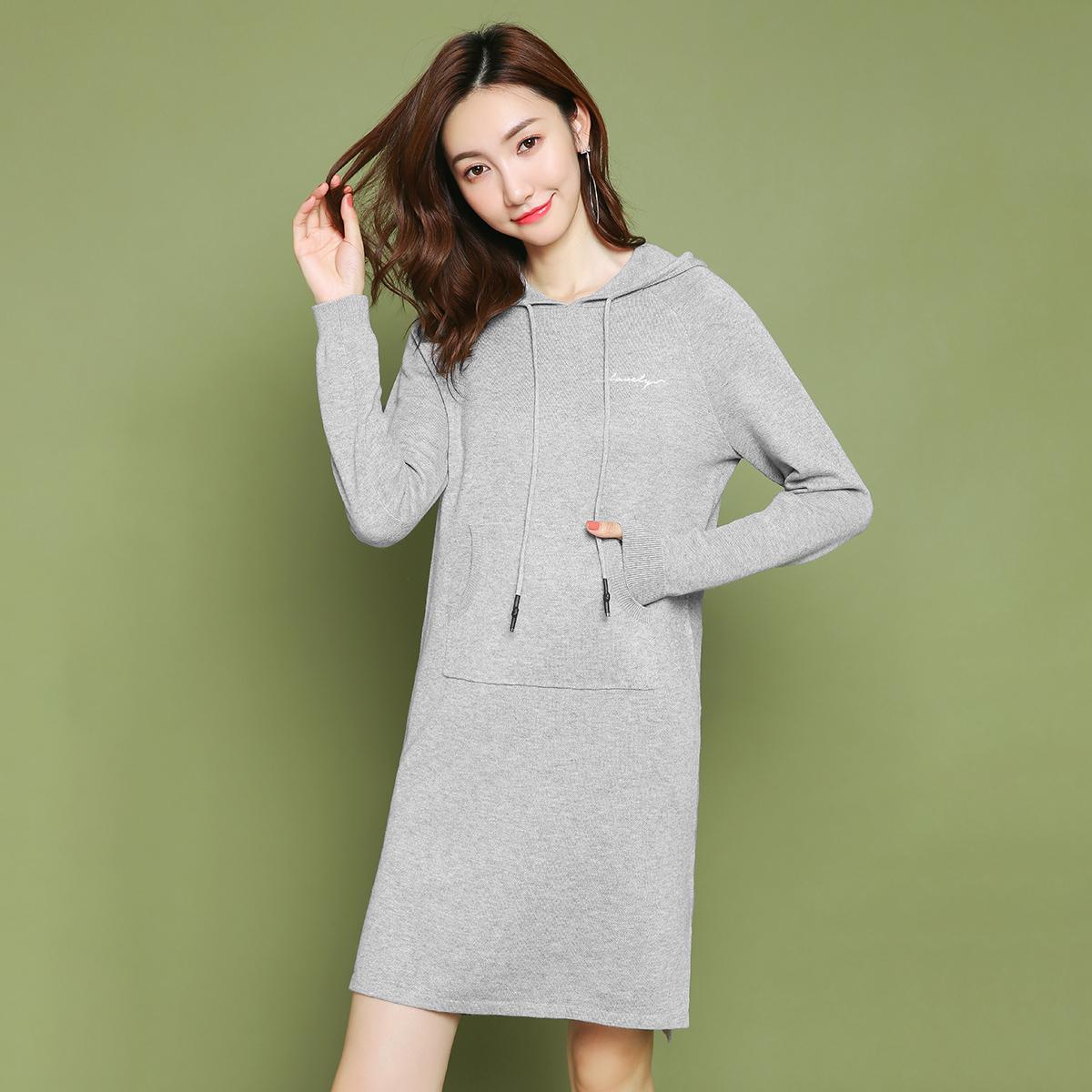 秋装女连衣裙拉夏贝尔2018新款秋季长袖中长款修身韩版裙子女士