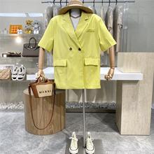 2021夏季新ji4(小)西装薄ua网红糖果色西服两颗扣显瘦中长外套